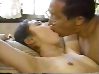 Young girl swallowing spit of an ugly old man 6