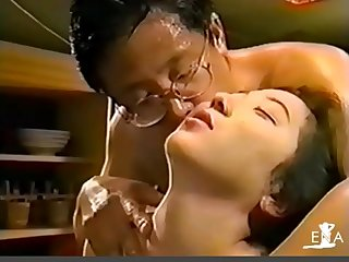 Young girl swallowing spit of an ugly old man 2